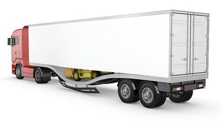 Forklift breaks trough semi-trailer floor, accident, isolated on white background Standard-Bild