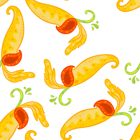 Vector seamless floral pattern with Nepenthes. Floral pattern. Yellow nepenthes pattern on white background. Illustration