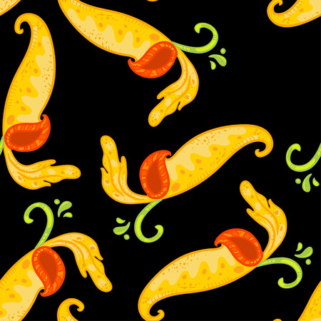 Vector seamless floral pattern with Nepenthes. Beautiful  pattern on black background. Floral pattern. Floral pattern with bright yellow nepenthes.