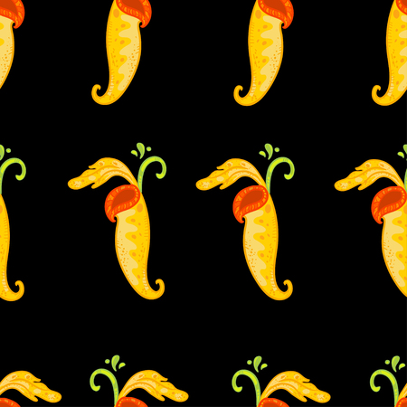 Vector seamless floral pattern with Nepenthes. Beautiful floral pattern on black background. Doodle pattern. Floral pattern with bright yellow nepenthes.