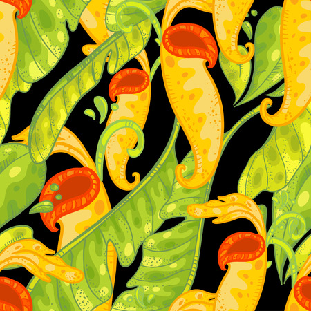 Vector seamless floral pattern with Nepenthes. Pattern with bright and beautiful carnivorous plants and green leaves on black background.