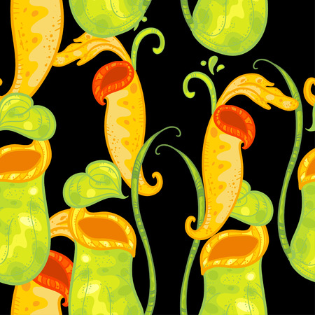 Vector seamless pattern with Nepenthes. Beautiful floral pattern on black background with doodle nepenthes. Floral pattern with bright yellow and green nepenthes.