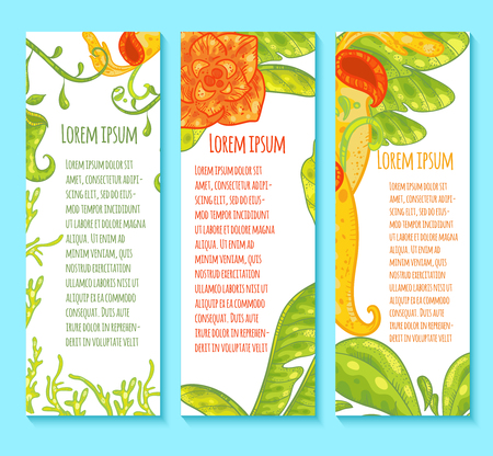 carnivorous: Vector vertical banners. Floral banners with carnivorous plants. Green leaves, orange flower. Illustration