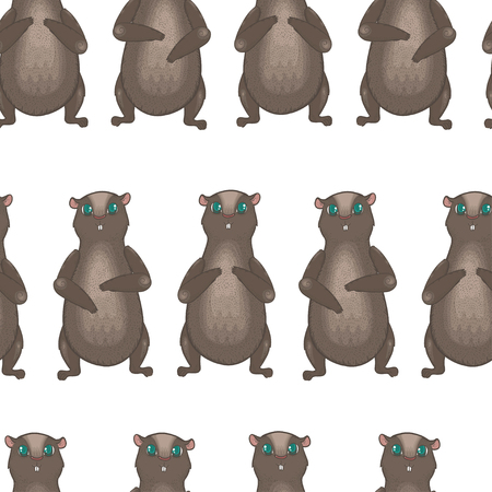 burrow: Vector seamless pattern with cute groundhogs on white background. Pattern for groundhog day. Cheerful groundhog.
