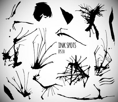 grundge: Vector set with black ink spots on white background. Different ink drops. Decorative grundge splats. Isolated ink drops.