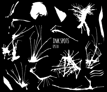 grundge: Vector set with white ink spots on black background. Ink drops. Beautiful grundge splats. Isolated ink drops. Ink splatters.