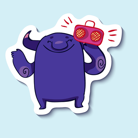 lets party: Vector emotion sticker with cute monster listening to music on blue background. Happy musician monster. Lets have a party.