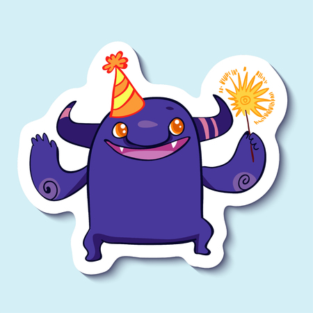 lets party: Vector emotion sticker with cute cheerful monster on blue background. Monster and a sparkler. Little monster and a party hat. Lets have a party.