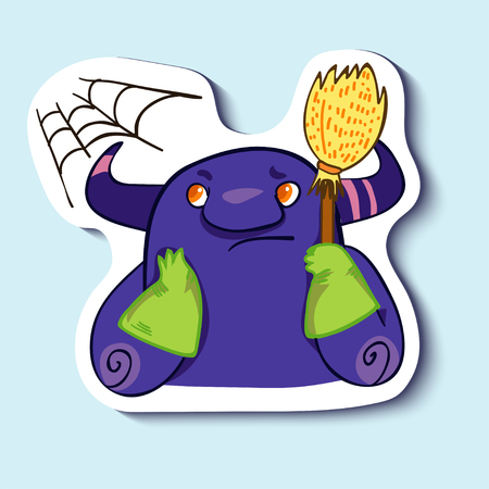 claen: Vector emotion sticker with cleaning cute monster on blue background. Its time to claen a flat, appartment, house. Clean a room. Clean a house.