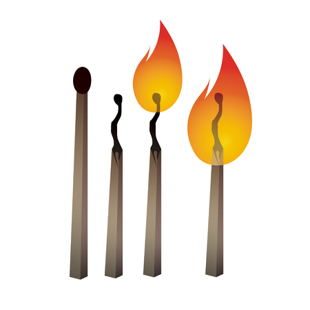 be careful: Different vector matches set. Match illustration. Burning match. Burned match. Safety match. Be careful with fire. Match day.