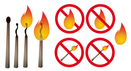 be careful: Safety match. Vector set with matches, fire, signs. Be careful with fire. World match day. No fire! Dangerous!