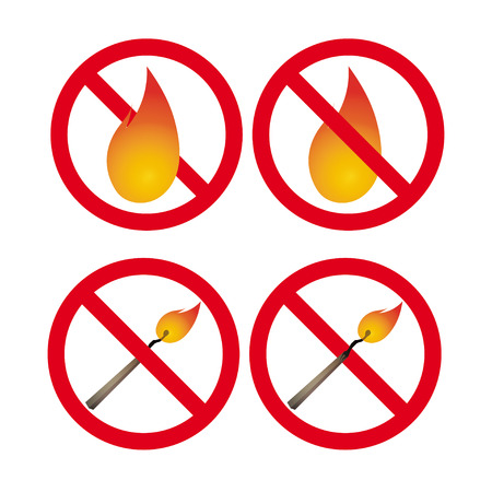be careful: Safety match. No fire signs. Vector signs set. Bright signs. Be careful! Fire!