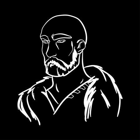 brutal: Vector portrait. Brave man. Brave warrior. Warrior portrait. Strong powerful man. Brutal viking. Viking warrior. Warrior portrait on black background. Vector illustration. White line portrait. Illustration