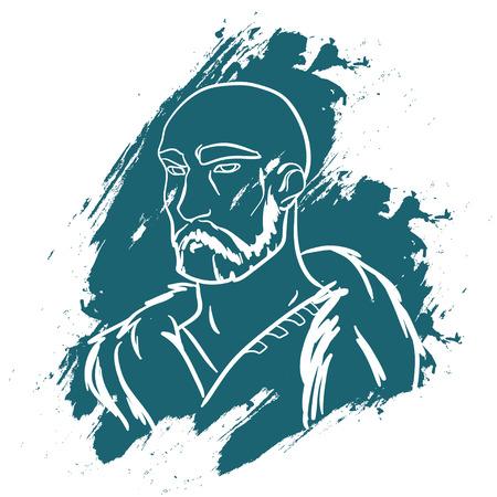 brutal: Vector portrait. Brave man. Brave warrior. Warrior portrait. Strong powerful man. Brutal viking. Viking warrior. Warrior portrait on white background. Blue paint.  Vector illustration.