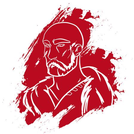brutal: Vector portrait. Brave man. Brave warrior. Warrior portrait. Strong powerful man. Brutal viking. Viking warrior. Warrior portrait on white background. Blood paint. Vector illustration.