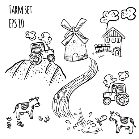 Village doodle set. Farm illustration doodle set. Cute farm doodles with mill and cow on white background.