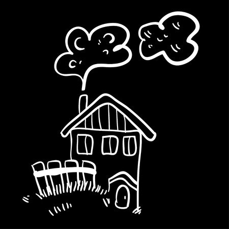 quick drawing: Cute doodle farm house on black background. Simple illustration. Funny cartoon old house. Vector illustration of little old farm house.