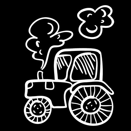 agronomics: Cute vector illustration with tractor. Funny doodle tractor on black background. Cartoon illustration of the tractor.