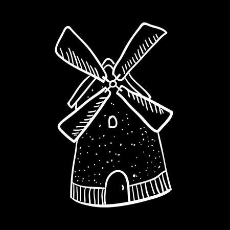 wind mills: Cute vector doodle with mill. Cartoon mill illustration on black background. Line art illustration. Line art farm illustration. Spain mill. Illustration