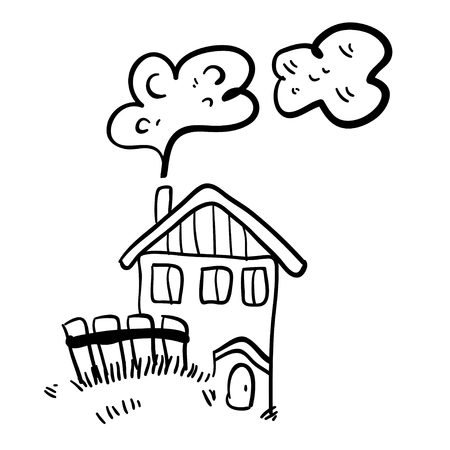 old farm: Cute doodle farm house on white background. Simple illustration. Funny cartoon old house. Vector illustration of little old farm house.