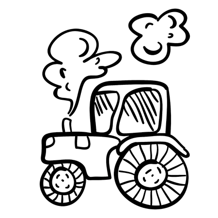 Cute vector illustration with tractor. Funny doodle tractor on white background. Cartoon illustration of the tractor.