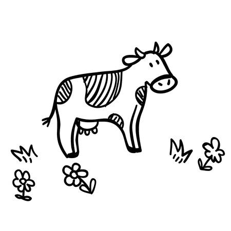 Cute doodle illustratie met grappige koe. Grappige koe lijntekeningen. Vector cartoon koe. Cartoon koe op een witte achtergrond. Grappige koe met bloemen.