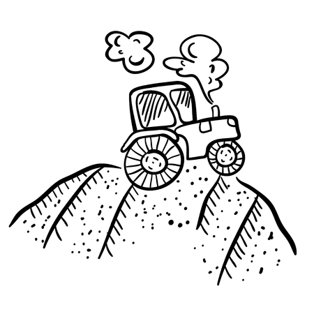 hand drawn cartoon: Cute vector illustration with tractor. Funny doodle tractor on white background. Cartoon illustration of the tractor. Cartoon tractor on the ground.