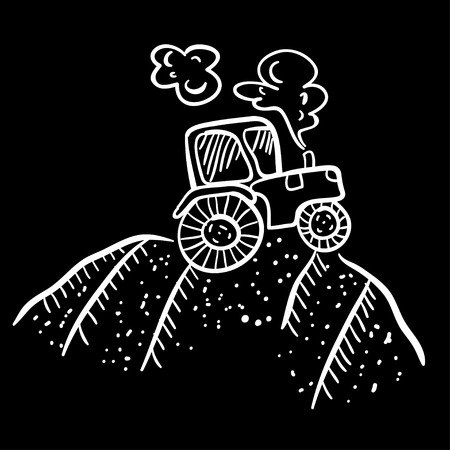 agronomics: Cute vector illustration with tractor. Funny doodle tractor on black background. Cartoon illustration of the tractor. Cartoon tractor on the ground. Illustration