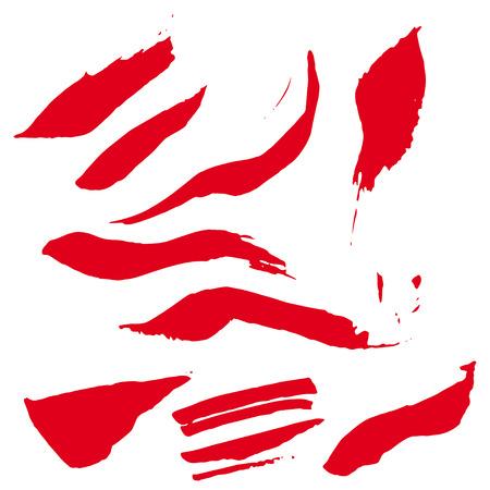 grundge: Ink spots set. Vector ink spot set. Different beautiful grundge ink spots. Spot set ink white background. Red ink set.