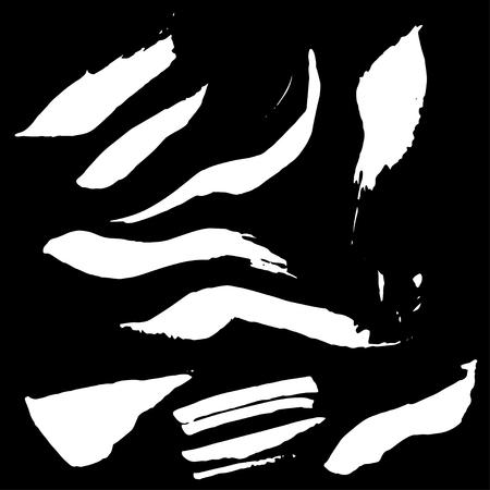 grundge: Ink spots set. Vector ink spot set. Different beautiful grundge ink spots. Spot set ink black background. White ink splashes.