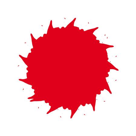 ink spot: Unusual round ink splash on white background. Bright red unusual beautiful round ink spot. Red ink spot on white background.