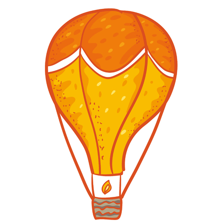 hands tied: Vector illustration with cute orange  aerostat. Air balloon illustration. Doodle with  aerostat. Funny cartoon balloon.