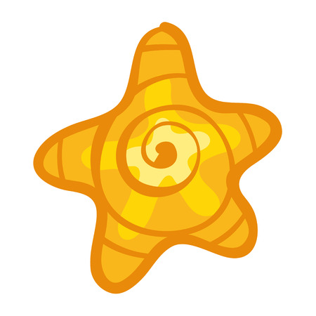 wonderful: Beautiful yellow star. Doodle with orange starfish. Cute cartoon sea star. Cartoon sea theme. Wonderful bright yellow star. Simple doodle star. Illustration