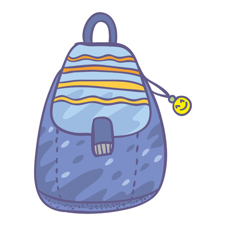 knapsack: Cute vector illustration with simple bag. Doodle blue bag with funny face. Funny cartoon child bag. Beautiful knapsack.