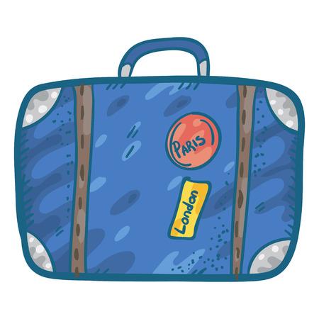 cartoon suitcase: Vector illustration with cute simple doodle lagguage. Funny cartoon  suitcase.  Suitcase sketch. Suitcase doodle illustration. Illustration
