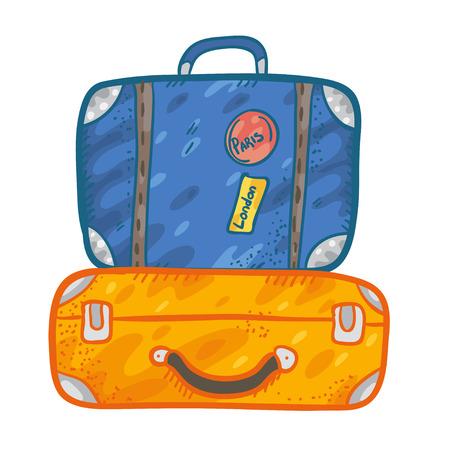 cartoon suitcase: Vector illustration with cute simple doodle lagguage. Funny cartoon  suitcase.  Suitcase sketch. Suitcase doodle illustration. Vector illustration with two suitcases, blue and orange.