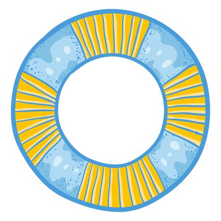 flotation: Vector illustration with cute simple doodle  air-pillow. Funny cartoon  air-pillow. Vector illustration with cute simple doodle  safety ring. Cartoon  safety ring.  Safety ring sketch. Stock Photo
