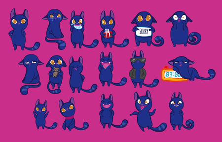 cartoon emotions: Vector illustration set with funny emotion cats. Emotion cat set. Blue funny doodle cats with different emotions on bright pink background. Cute cartoon little kittens. Funny kitties. Illustration