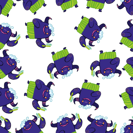 mutation: Vector seamless pattern with funny cartoon monsters. Washing monsters. Bath pattern. Cartoon pattern with cute violet monsters. Funny creatures. Kids pattern on white background. Illustration
