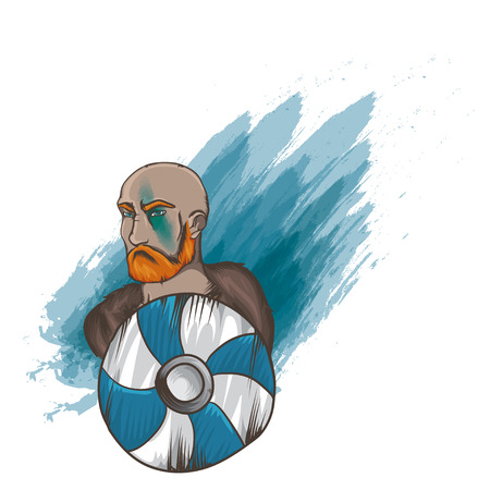 brutal: Vector illustration with brutal man.  Sea-king portrait. Viking brave man. Varangian with red beard. Brave man with shield. Man with mantelet on white background. Illustration
