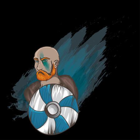 brutal: Vector illustration with brutal man.  Sea-king portrait. Viking brave man. Varangian with red beard. Brave man with shield. Man with mantelet on black background.