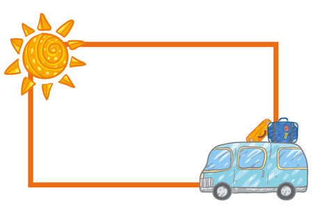Vector Frame With Cute Blue Bus And Cases, Luggage And Sun. Summer ...