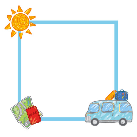 Vector Frame With Cute Blue Bus And Cases, Luggage, Map, Passport ...