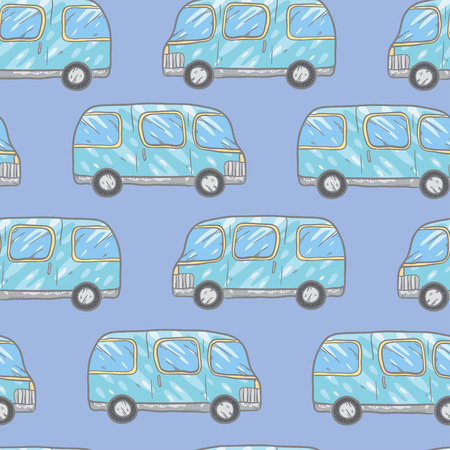 bases: Vector seamless pattern with doodle cartoon cute bases. Wonderful kids pattern with transport. Cool cars on blue background. Vector bus.