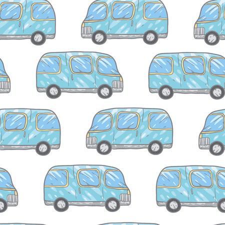 bases: Vector seamless pattern with doodle cartoon cute bases. Wonderful kids pattern with transport. Cool cars on white background. Vector bus.