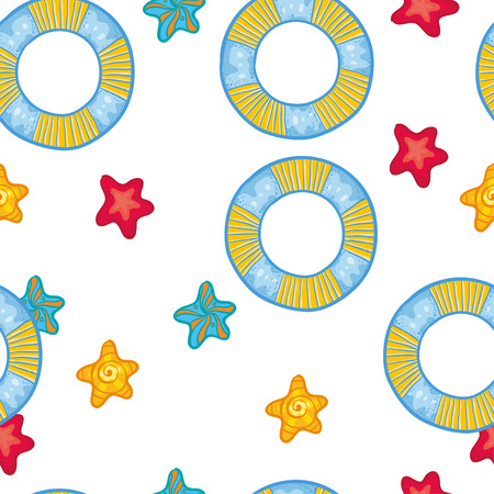 flotation: Vector seamless pattern with  flotation ring and sea stars. Vacation kids cute pattern with cute things. Summer pattern on white background.