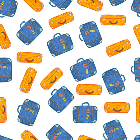 old suitcase: Vector seamless pattern with suitcases on white background. Wonderful trip pattern. Vacation pattern. Doodle and cartoon suitcases pattern.