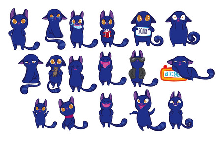 kitties: Vector illustration set with funny emotion cats. Emotion cat set. Blue funny doodle cats with different emotions on white background. Cute cartoon little kittens. Funny kitties. Illustration