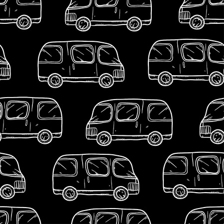 bases: Vector seamless pattern with doodle cartoon cute bases. Wonderful kids pattern with transport. Cool cars on black background. Vector bus. Sketch bus.