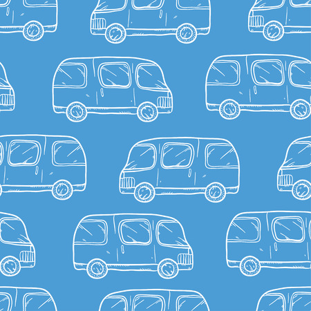 bases: Vector seamless pattern with doodle cartoon cute bases. Wonderful kids pattern with transport. Cool cars on blue background. Vector bus. Sketch bus. Illustration